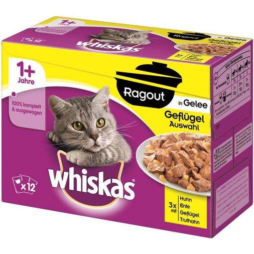 Whiskas Portionsbeutel Multipack Ragout 1+ Geflügelauswahl in Gelee 12x85g (Menge: 4 je Bestelleinheit)