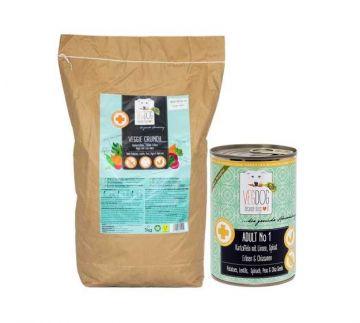VEGDOG Probierpaket: 1x2kg Veggie Crunch trocken & 6x400g Dose Adult No1