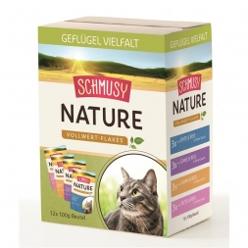 Schmusy Nature Vollwert-Flakes Multibox Geflügel Vielfalt 12x100g (Menge: 4 je Bestelleinheit)