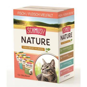 Schmusy Nature Vollwert-Flakes Multibox Fisch/Fleisch 12x100g (Menge: 4 je Bestelleinheit)