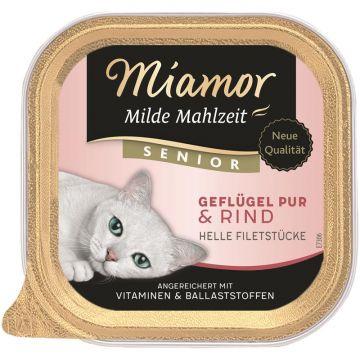 Miamor Schale Milde Mahlzeit Senior Geflügel pur & Rind 100g (Menge: 16 je Bestelleinheit)