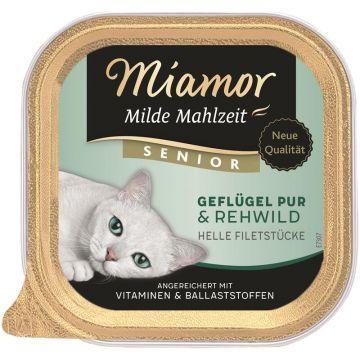 Miamor Schale Milde Mahlzeit Senior Geflügel Pur & Rehwild 100g (Menge: 16 je Bestelleinheit)