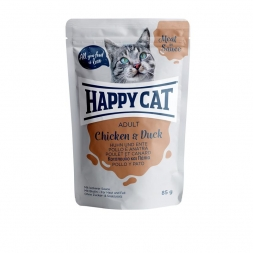 Happy Cat Pouches Meat in Sauce Adult Huhn & Ente 85g (Menge: 24 je Bestelleinheit)