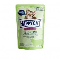 Happy Cat Pouches All Meat Adult Sterilised Kalb & Lamm 85g (Menge: 24 je Bestelleinheit)