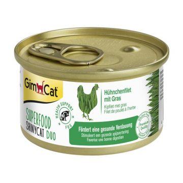 GimCat Superfood ShinyCat Duo Huhn & Gras 70g (Menge: 24 je Bestelleinheit)