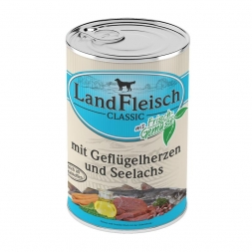 Landfleisch Dog Pur Geflügelherzen & Seelachs 400g (Menge: 12 je Bestelleinheit)