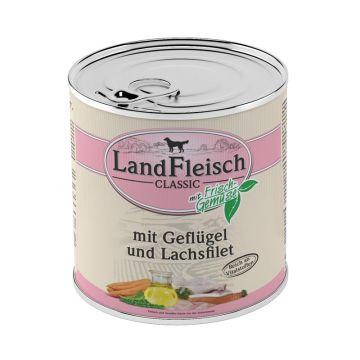 Landfleisch Dog Pur Geflügel & Lachsfilet 800g (Menge: 6 je Bestelleinheit)