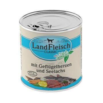 Landfleisch Dog Pur Geflügelherzen & Seelachs 800g (Menge: 6 je Bestelleinheit)