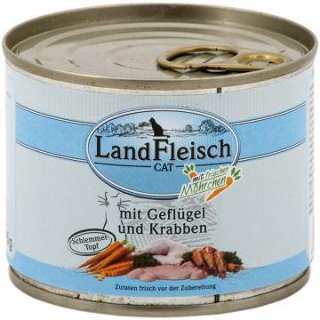 LandFleisch Cat Adult Schlemmertopf Geflügel & Krabben mit Frisch-Gemüse 195g (Menge: 12 je Bestelleinheit)
