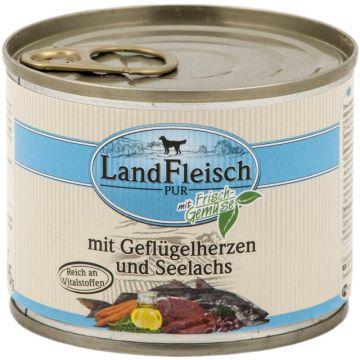 Landfleisch Dog Pur Geflügelherzen & Seelachs 195g (Menge: 12 je Bestelleinheit)