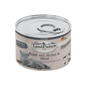 LandFleisch Cat Kitten Pastete Rind, Huhn & Wild 100g (Menge: 6 je Bestelleinheit)