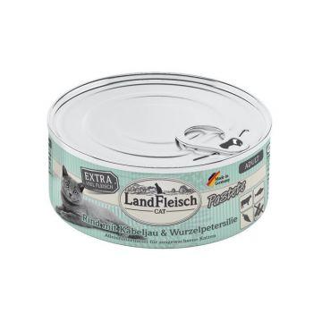 LandFleisch Cat Adult Pastete Rind, Kabeljau, Wurzelpetersilie 100g (Menge: 6 je Bestelleinheit)