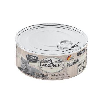 LandFleisch Cat Kitten Pastete Rind, Huhn & Wild 195g (Menge: 6 je Bestelleinheit)