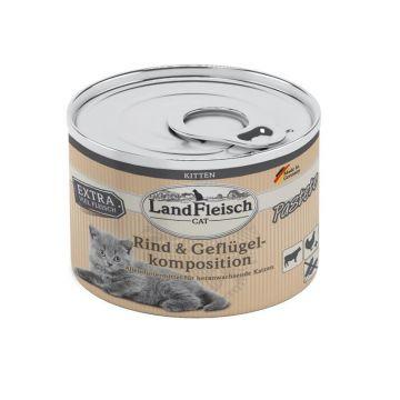 LandFleisch Cat Kitten Pastete Rind & Geflügelkompo. 195g (Menge: 6 je Bestelleinheit)