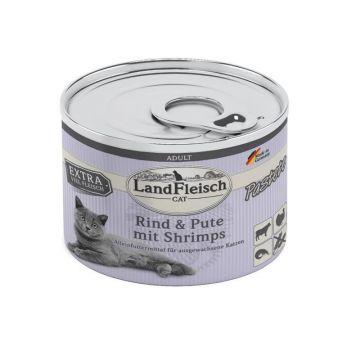 LandFleisch Cat Adult Pastete Rind, Pute & Shrimps 195g (Menge: 6 je Bestelleinheit)