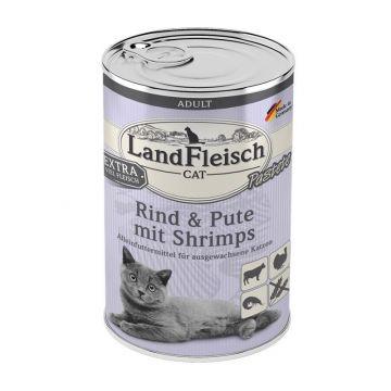 LandFleisch Cat Adult Pastete mit Rind, Pute & Shrimps 400 g (Menge: 6 je Bestelleinheit)