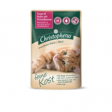 Christopherus Cat Portionsbeutel Adult - Fasan + Huhn mit Preisselbeeren 85 g (Menge: 12 je Bestelleinheit)