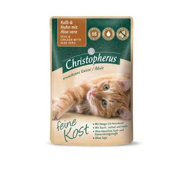 Christopherus Cat Portionsbeutel Adult - Kalb + Huhn mit Aloe Vera 85 g (Menge: 12 je Bestelleinheit)