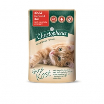 Christopherus Cat Portionsbeutel Senior - Rind + Huhn mit Reis 85 g (Menge: 12 je Bestelleinheit)