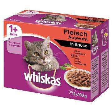 Whiskas 12er-MP Herzhaftes Ragout in Sauce 12 x 100g (Menge: 4 je Bestelleinheit)
