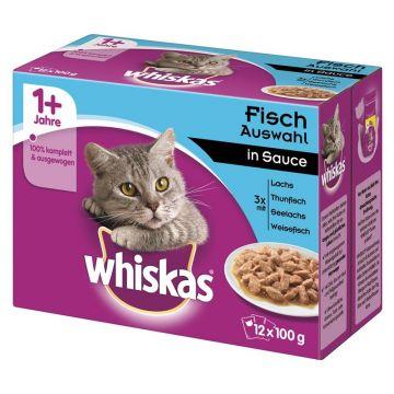 Whiskas Portionsbeutel Multipack 1+ Fischauswahl in Sauce 12x100g (Menge: 4 je Bestelleinheit)