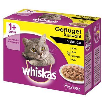 Whiskas Portionsbeutel Multipack 1+ Geflügelauswahl Sauce 12x100g (Menge: 4 je Bestelleinheit)