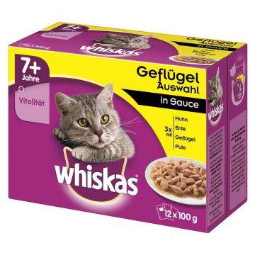 Whiskas Portionsbeutel Multipack 7+ Geflügelauswahl Sauce 12x100g (Menge: 4 je Bestelleinheit)