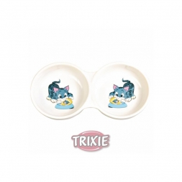 Trixie Doppelnapf mit Motiv, Keramik
