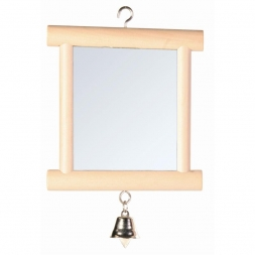 Trixie Spiegel mit Holzrahmen/Glocke, 9 × 10 cm