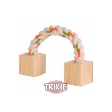 Trixie Baumwollspielseil mit Holz, Kleintiere 20 cm
