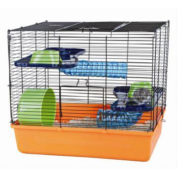 Trixie Hamsterkäfig 40 × 38 × 30 cm, orange blau grün