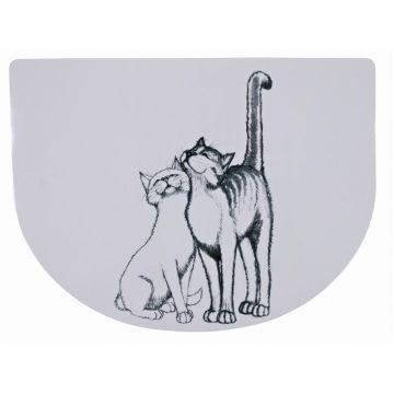 Trixie Napfunterlage Schmusekatzen 40 × 30 cm, weiß