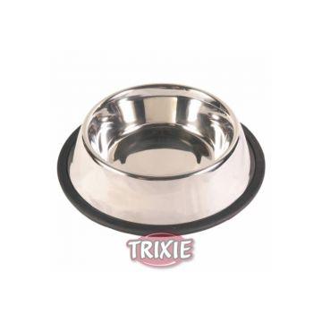 Trixie Edelstahlnapf, Gummiring 0,45 l  14 cm