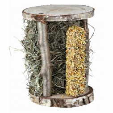Trixie Holzturm mit Heu & Knusperstange, 13 × 17 × 13 cm, 110 g