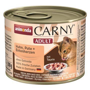 Animonda Cat Dose Carny Adult Huhn & Pute & Entenherzen 200g (Menge: 6 je Bestelleinheit)