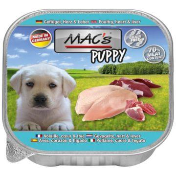 MACs Dog Puppy Geflügel, Herz &  Leber 150 g (Menge: 11 je Bestelleinheit)