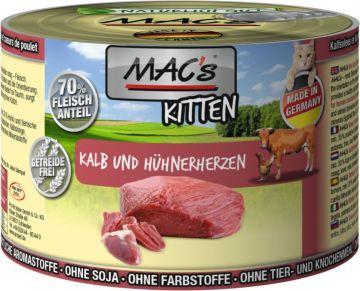 MACs Cat Kitten Kalb & Hühnerherzen 200g (Menge: 6 je Bestelleinheit)