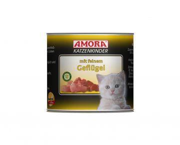 AMORA Cat Fleisch pur Katzenkinder mit feinem Geflügel 200g (Menge: 6 je Bestelleinheit)