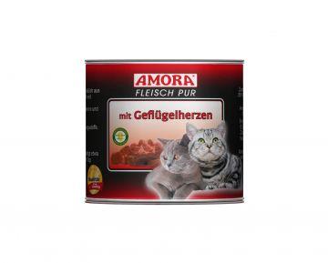 AMORA Cat Fleisch pur mit Geflügelherzen 200g (Menge: 6 je Bestelleinheit)