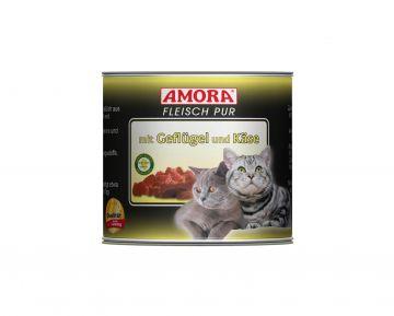 AMORA Cat Fleisch pur mit Geflügel+Käse 200g (Menge: 6 je Bestelleinheit)