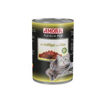 AMORA Cat Fleisch pur mit Geflügel & Käse 400g (Menge: 6 je Bestelleinheit)
