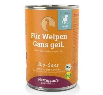 Herrmanns Dog Welpe Bio-Gans, Spinat, Kartoffeln Bio-Beeren 400g (Menge: 12 je Bestelleinheit)