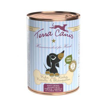 Terra Canis Dose Huhn mit Kürbis, Kamille & Blütenpollen für Welpen 400 g (Menge: 12 je Bestelleinheit)