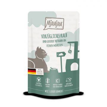MjAMjAM - Quetschie - vorzügliches Kalb & Truthahn an leckeren Möhrchen 125 g (Menge: 12 je Bestelleinheit)