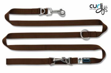Curli Verstellbare Leine Nylon 200x1.5cm Braun