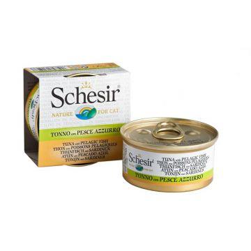 Schesir Cat Dose in Brühe Thunfisch & Sardinen 70g (Menge: 24 je Bestelleinheit)
