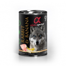 alpha spirit Dog Dose Rabbit with Banana 400g (Menge: 6 je Bestelleinheit)